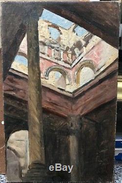 Tableau Ancien Huile XIXe Ruine Cour des Comptes Paris Gare dOrsay 1880
