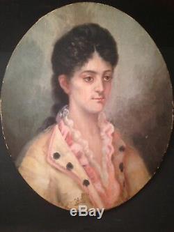 Tableau Ancien Huile XIXeme Portrait de Jeune Femme Ecole Française 19ème