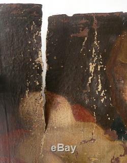 Tableau Ancien Huile XVIIIe Enfant Jésus endormi Scène religieuse À RESTAURER