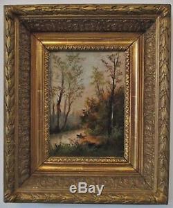 Tableau Ancien Huile / bois Paysage Campagne XIXe Barbizon Cadre doré à clés