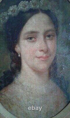Tableau Ancien Huile portrait jeune fille. 19 eme École Francaise/Old painting