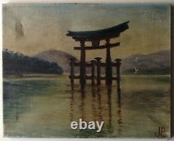 Tableau Ancien Huile signée J. P. Paysage Le Torii de Miyajima JAPON à restaurer
