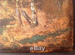 Tableau Ancien Huile sur bois style Barbizon Femmes dans une Clairière