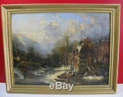 Tableau Ancien Huile sur panneau Paysage Lacustre, XIXe, non signé, Barbizon