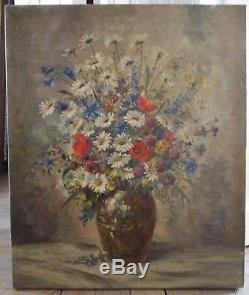 Tableau Ancien Huile sur toile Bouquet de Fleurs signé XXe