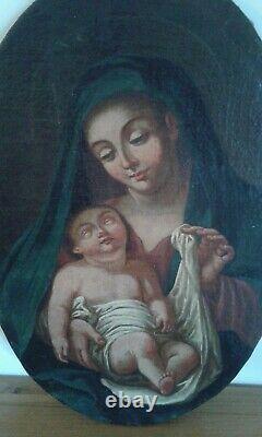 Tableau Ancien Huile sur toile La vierge et l''enfant. Fin XVIII ème