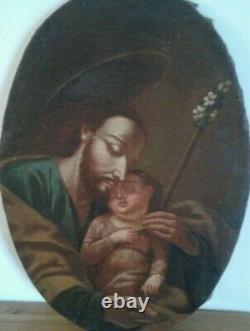 Tableau Ancien Huile sur toile Saint Joseph. Fin XVIII ème