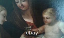 Tableau Ancien Huile/ toile Vierge, enfant & Ste Martine. 17eme École italienne