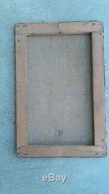 Tableau Ancien Huile toile XlX Paysage Barbizon Impressionniste Basse Cour