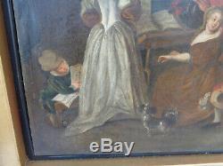 Tableau Ancien Huile toile maroufflé la leçon de musique École du nord 18 eme