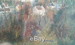 Tableau Ancien Huile toile village paysage d'automne. Charles pollaci (1907-1988)