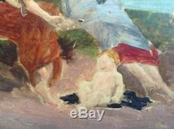 Tableau Ancien Impressionniste Femmes et Nourrisson à la plage Huile signée XIXe
