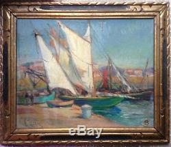 Tableau Ancien Impressionniste Léonie VITTON Marine style Georges LAPCHINE Huile