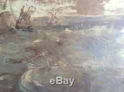 Tableau Ancien Impressionniste Marine EUGENE BOUDIN Etude de Ciel Huile