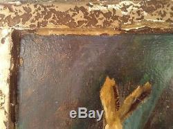 Tableau Ancien Impressionniste Nature morte au Lièvre Huile signée J. BESSON