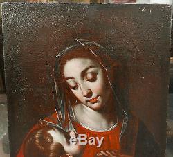 Tableau Ancien Italien Huile Vierge à l'Enfant Renaissance Fin XVIe Début XVIIe
