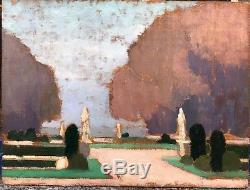 Tableau Ancien LOUIS BILLOTEY (1883-1940) Paysage Parc Versailles Sculptures