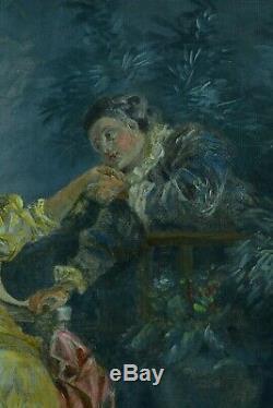 Tableau Ancien Le rendez vous Galant Libertin sv François Boucher Musique 19ème