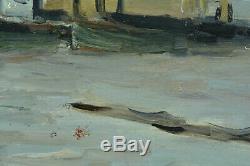 Tableau Ancien Marine 19 ème Bateaux mouillage bord de mer Normandie e. Boudin