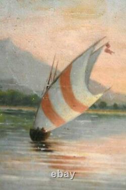 Tableau Ancien Marine Animée école Française XIXème