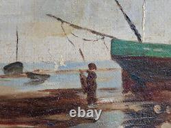 Tableau Ancien, Marine, Bateaux À Marée Basse, Signé Fischer