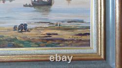 Tableau Ancien Marine Huile sur bois Eugene Jacquet Fin 19eme