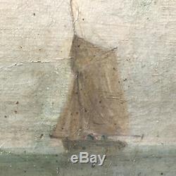 Tableau Ancien Marine Normandie Bateau Voilier huile sur toile19ème A restaurer