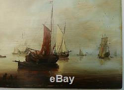Tableau Ancien Marine Port Bateau Voilier Paysage Éc. Hollandaise XIXe Signé