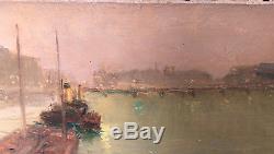Tableau Ancien Maurice DAINVILLE (1856-1943) Paris Nuit Pont Bateau 1900