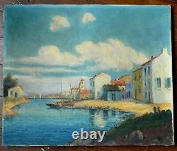 Tableau Ancien Mer Marine Port Bateaux Sud Martigues St Tropez M Bernard né 1885