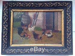 Tableau Ancien Miniature XIXe Coq et poule Basse Cour Huile 19ème Monogramme AH