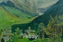 Tableau Ancien Montagne Vue des Pyrénées Cirque Gavarnie Cammas Randonnée été