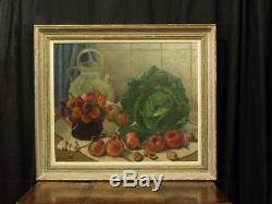 Tableau Ancien Nature Morte Chou Cuisine Tomates Fleurs Alphonse Fauré Toulouse
