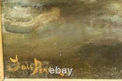 Tableau Ancien Nu Féminin Accoudé Académique Signé époque XIXème