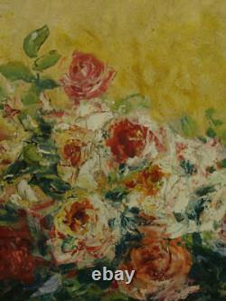 Tableau Ancien Orientaliste Bouquet de Fleurs Roses Pivoines Maury Still Life
