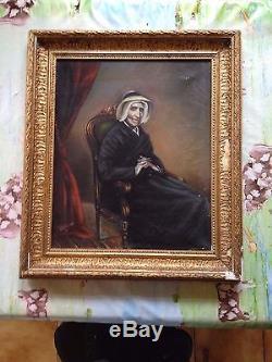 Tableau Ancien Original Art 19ème Peinture à l'huile Dame