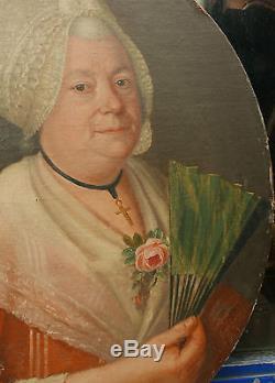 Tableau Ancien Ovale Huile Portrait Femme Éventail Rose c. 1780 XVIIIe Louis XVI