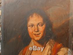 Tableau Ancien Panneau Huile Portrait de Femme Paysanne XIXe à restaurer