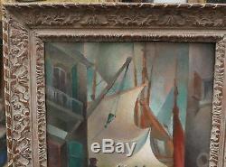 Tableau Ancien Paysage Cubisant Port Bateaux 1925 Emmanuel POIRIER (1898-)