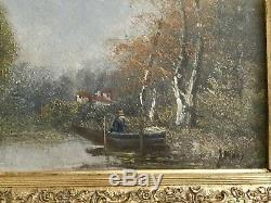 Tableau Ancien Paysage Ecole De Barbizon XIXe, l'automne en barque