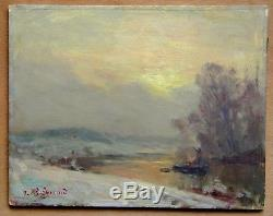 Tableau Ancien Paysage Hiver Impressionniste Jean REMOND 1872-1913 Lorraine