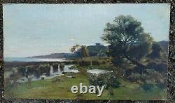 Tableau Ancien Paysage Mer Etang Impressionniste goût LANSYER27 x 46 cms