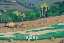 Tableau Ancien Paysage Moissons REX BARRAT Nièvre Bourgogne 60 x 73 cms