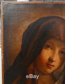 Tableau Ancien Peinture Huile Madone Vierge en Prière XVIIIe siècle à nettoyer