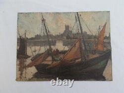 Tableau Ancien Peinture Marine Port Peche Huile Signe A Brion Old Painting XX