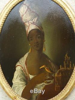 Tableau Ancien Peinture huile portrait Africaine cadre doré ovale