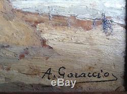 Tableau Ancien Plage animée à Trouville en Août 1930 Huile signée A. GARACCIO