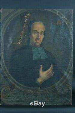 Tableau Ancien Portait Prêtre trompe l'oeil signé 18e Avignon P. De Luxembourg