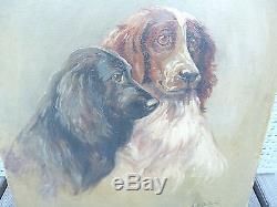 Tableau Ancien Portrait De 2 Chien Peintre Huile Sur Toile Chasse Hunting Dog