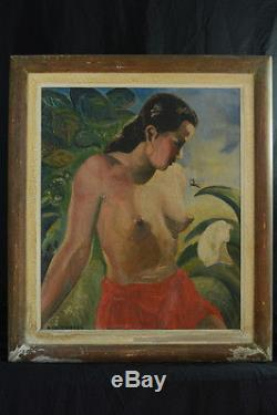 Tableau Ancien Portrait De Jeune Femme Nue Robe Rouge Exotique Calmettes 1920